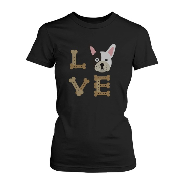 Bulldog LOVE Women's Black Shirt for Puppy Lover Cute Tee for Dog Owner