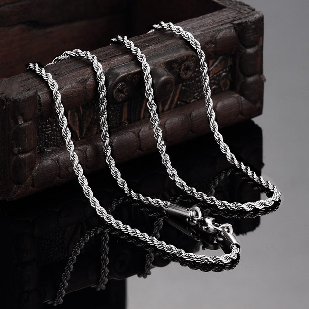 Thin Line Cut Stainless Steel Chain 24 inches