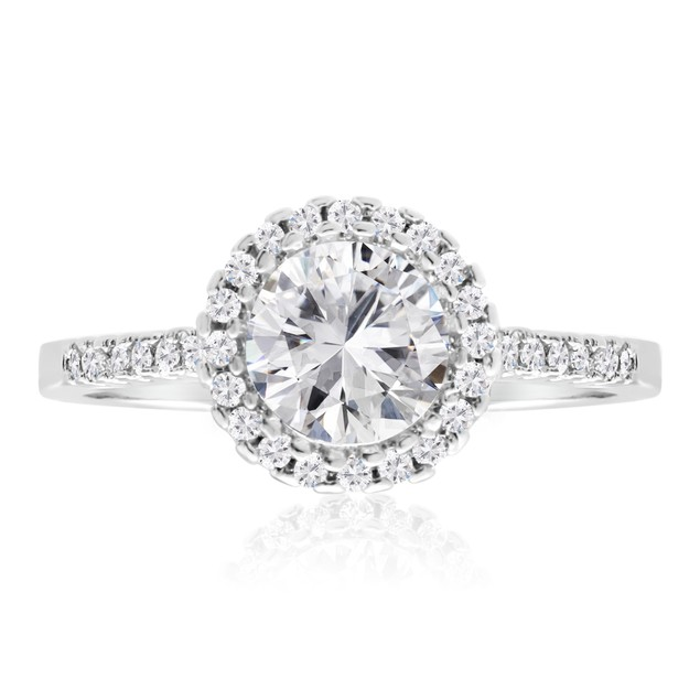 2 Carat Cubic Zirconia Halo Engagement Ring