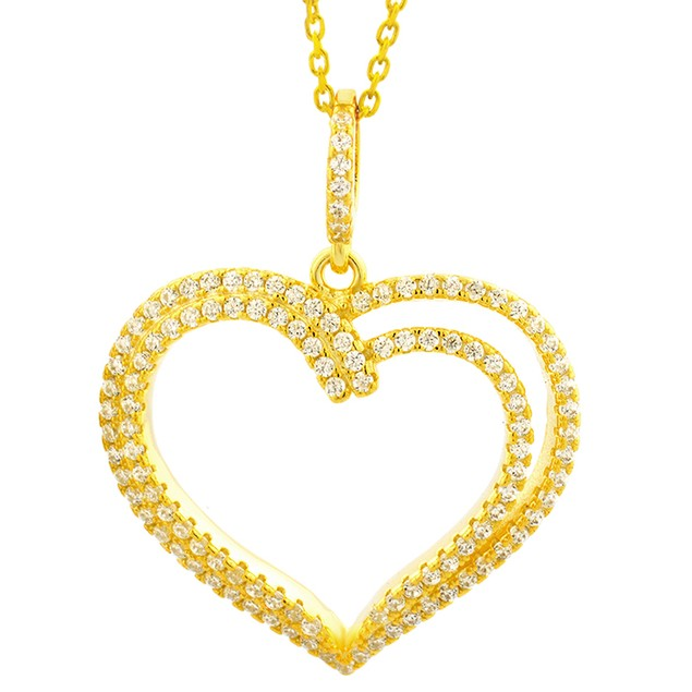 18K Gold Over Sterling Silver Two Tier Pendant