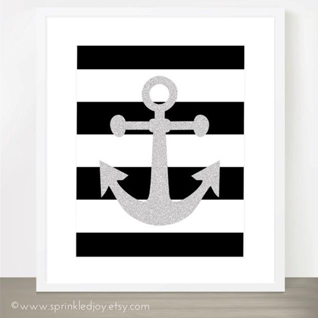 Black Stripe Anchor Customized Print