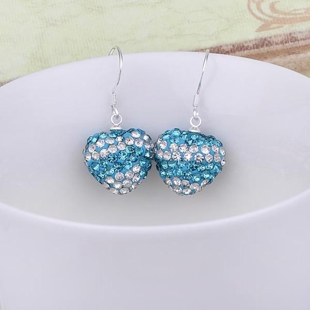 Austrian Stone Pave Heart Drop Earrings - Light Blue