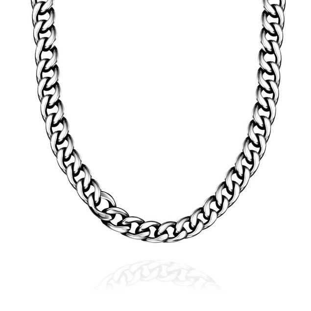 Alpha Steel Greek Inspired Stainless Steel Necklace