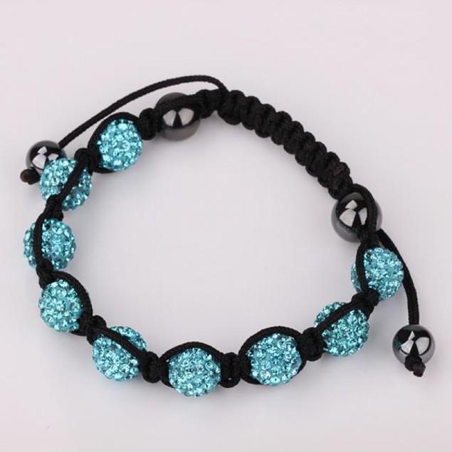80's Glam Eight Beads Austrian Crystal Bracelet - Light Sapphire