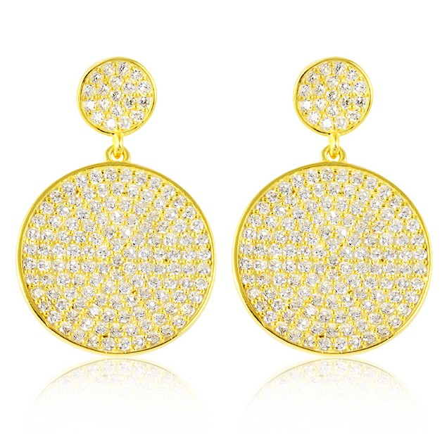 18K Gold Over Sterling Silver Micro Pave Circle Drop Earrings