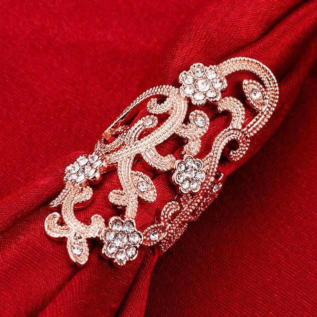 Gold Plated Floral CZ Ring