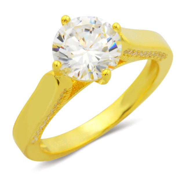 Gold Plated Solitaire Ring