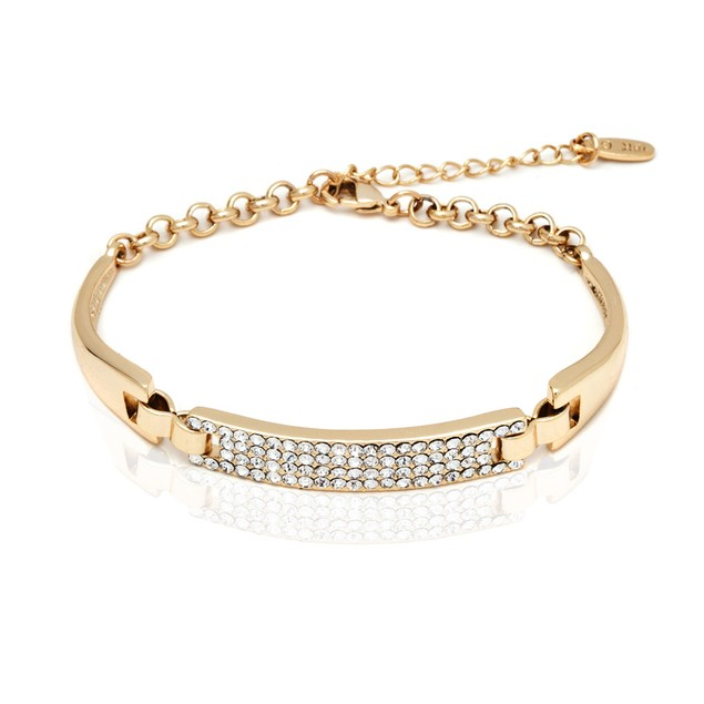 18K Gold Plated Gold and White Swarovski Elements Block Bracelet