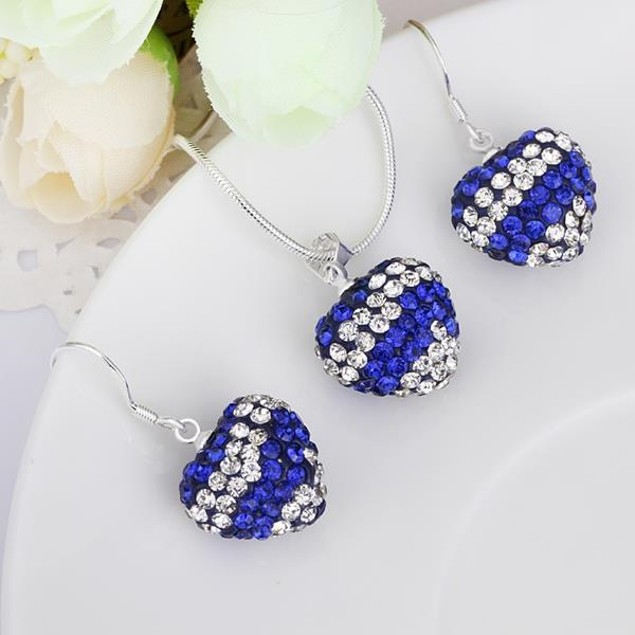 Multi-Pave Heart Drop Earring and Necklace Set - Royal Blue Crystal