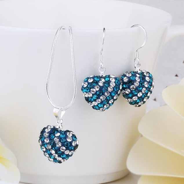 Austrian Stone Multi-Pave Heart Drop Earring and Necklace Set - Teal Blue