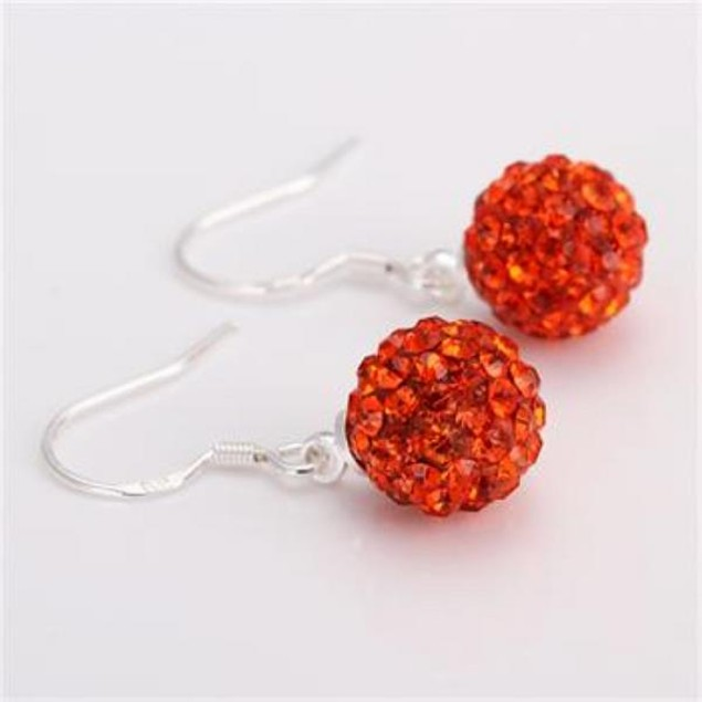 Vivid Light Austrian Stone Red Drop Earrings