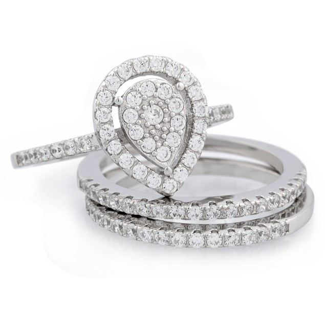 3pc Pearshape Micro Pave Ring