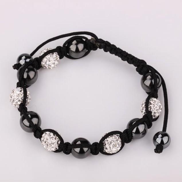 Disco Ball Austrian Crystal Strap Bracelet & Crystal Beads -Diamond