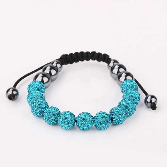 Disco Ball Eleven Beads Austrian Crystal Bracelet - Vivid Sapphire
