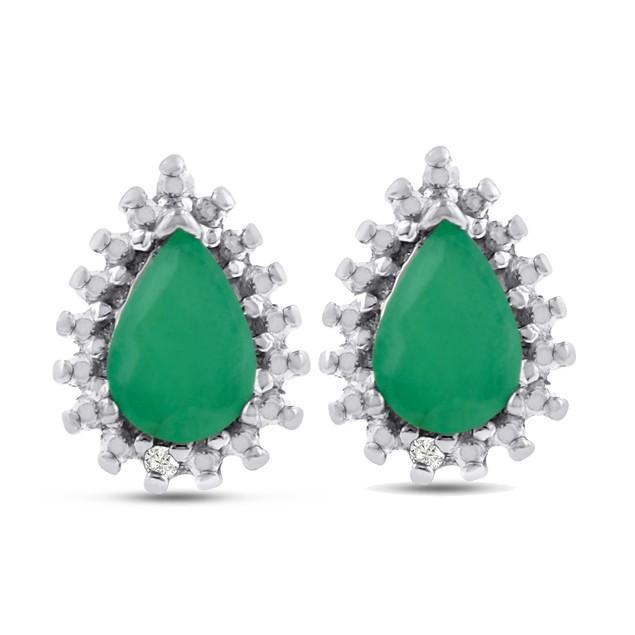 1 Carat Pear Shape Emerald and Diamond Halo Stud Earrings In Sterling Silver