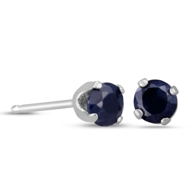Sterling Silver 1/2ct Natural Blue Sapphire Stud Earrings