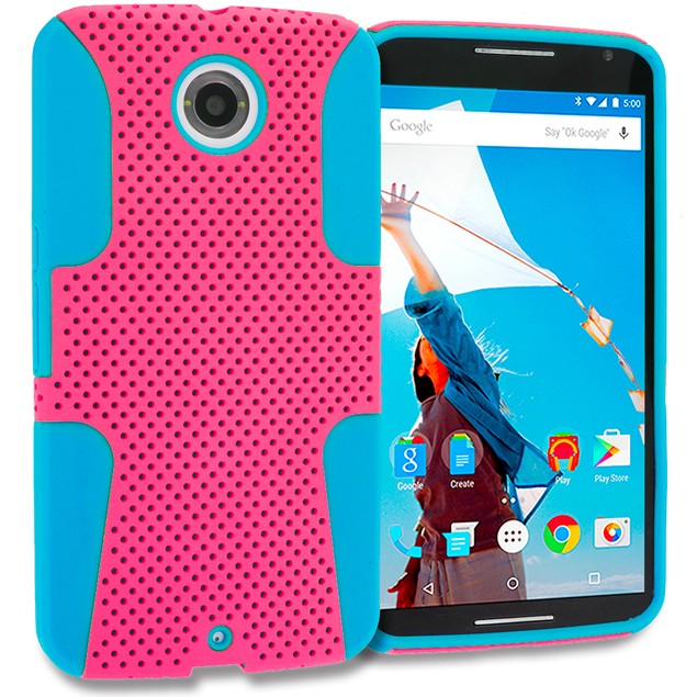 Motorola Google Nexus 6 Hybrid Mesh Hard Soft Silicone Case Cover