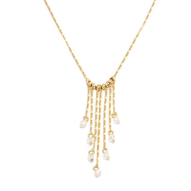 Gold & Crystal Drop Necklace