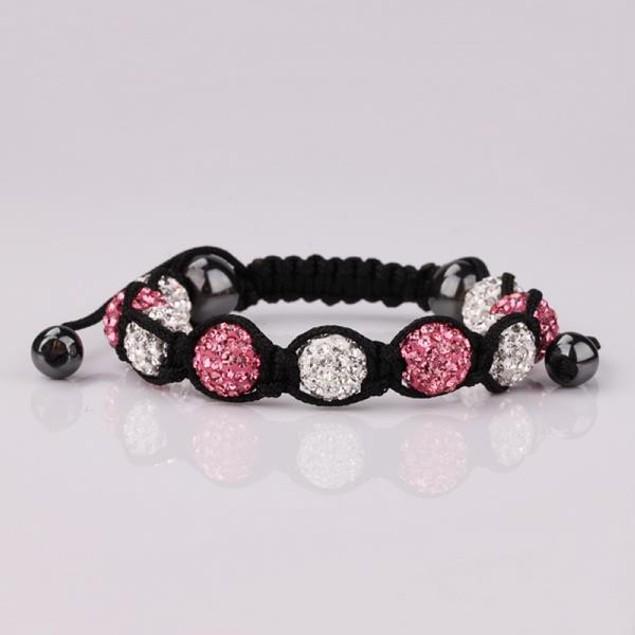Disco Ball Austrian Crystal Strap Bracelet & Crystal Beads -Dark Pink