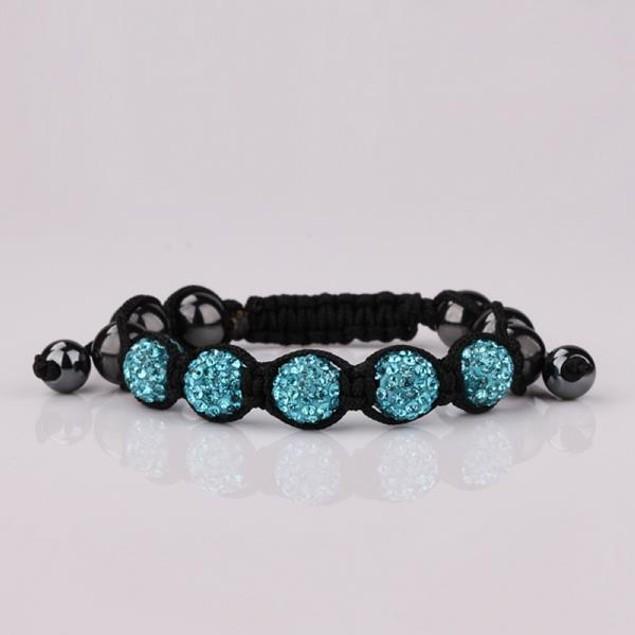 80's Glam Five Beads Austrian Crystal Bracelet -Light Sapphire