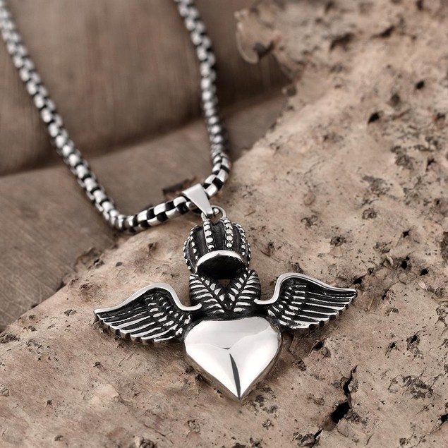 Alpha Steel Flying Hearts Emblem Stainless Steel Necklace