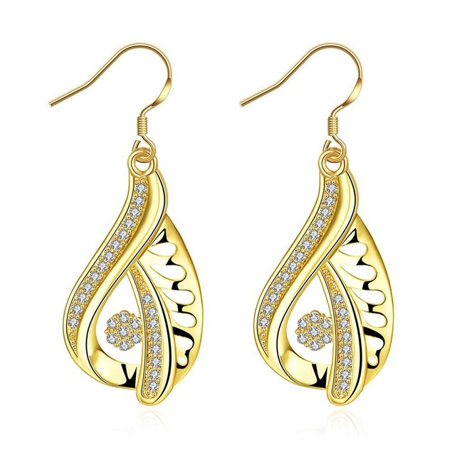 Gold Plated Abstract Curved Drop Down Earrings