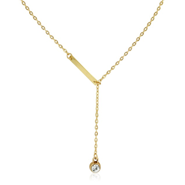 Gold Plated Bar and Crystal Lariat Necklace