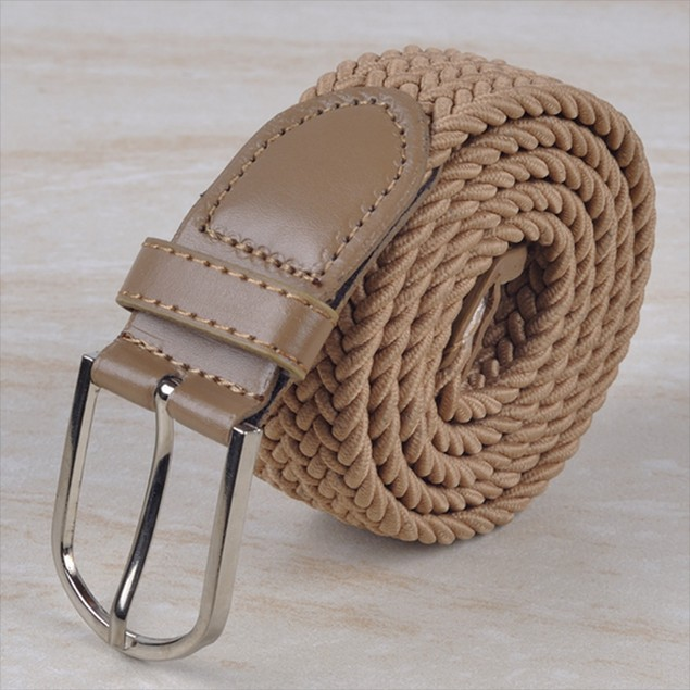 Unisex Braided Belt with Brass-Finish Buckle (S-4X)