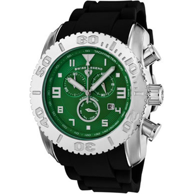 SWISS LEGEND Men's Commander Chronograph Dark Green Dial Black Silicone