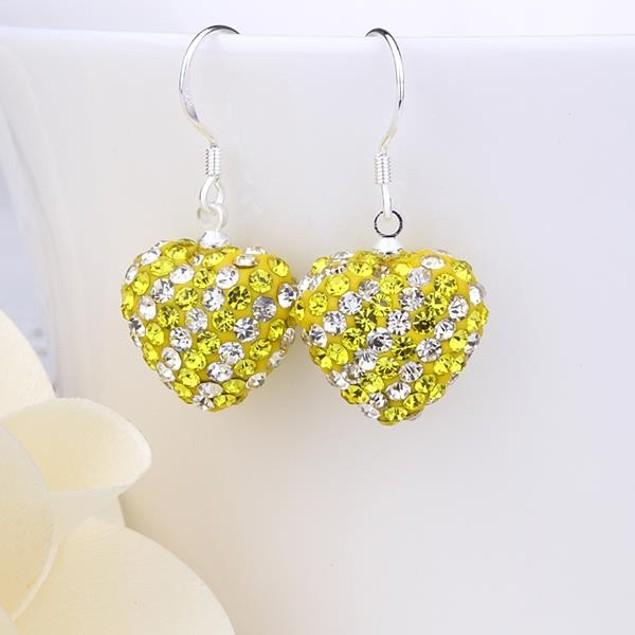 Two Toned Austrian Stone Hearts Drop Earrings -Light Yellow Citrine