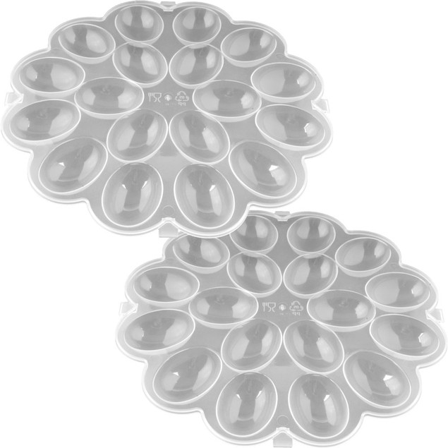 Set of 2 Deviled Egg Trays with Snap On Lids - Holds 36 Eggs
