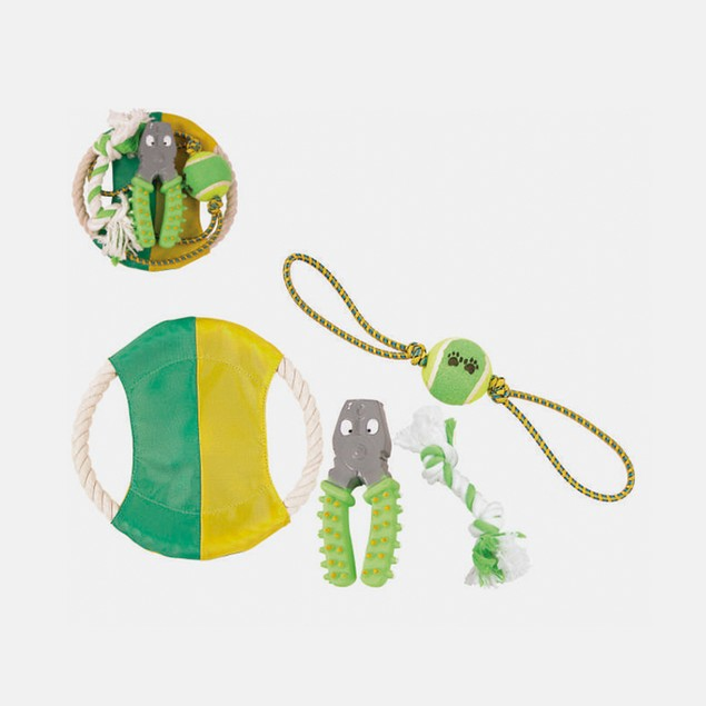 PET LIFE 4-Piece Rope/Rubber/Tennis Dog Toy Set