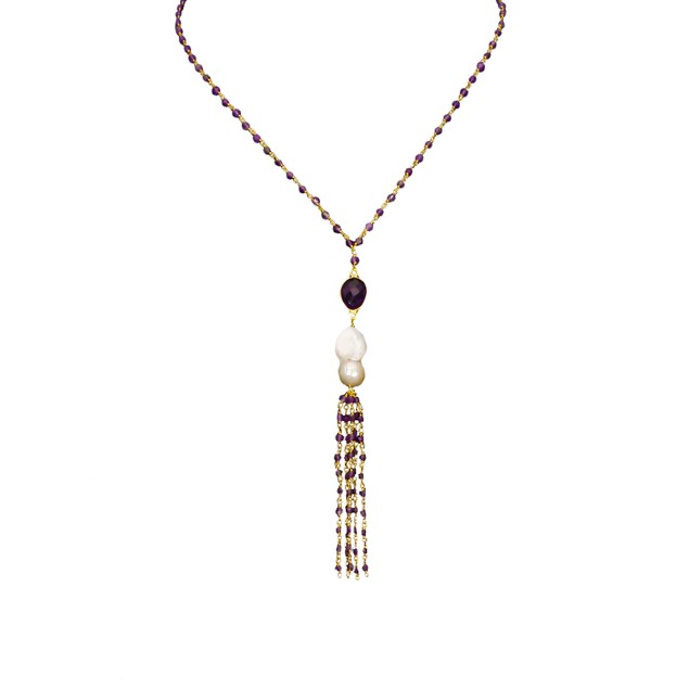 25 Carat Amethyst Tassel Chain Necklace - 18 Inches