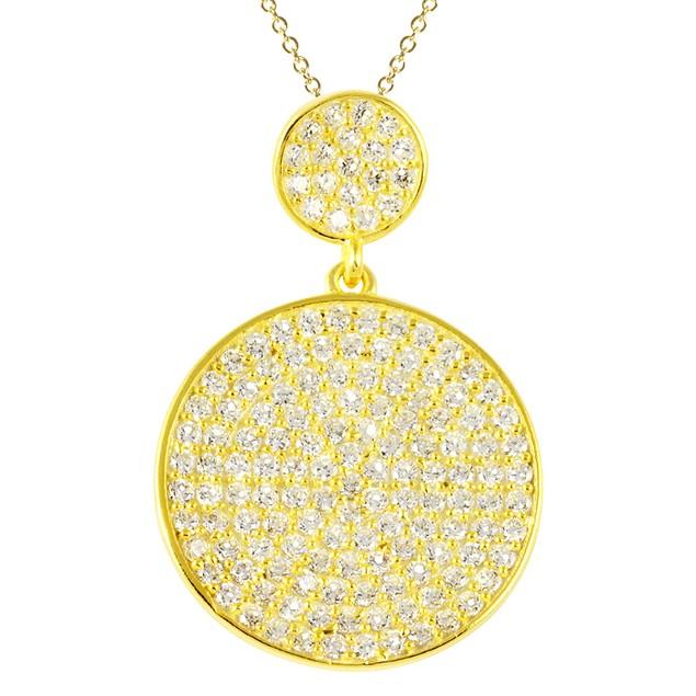 18K Gold Simulated Diamond Round Pave Necklace