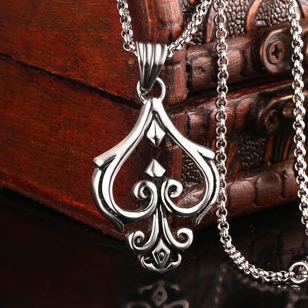 Alpha Steel Hollow Spade Emlem Stainless Steel Necklace