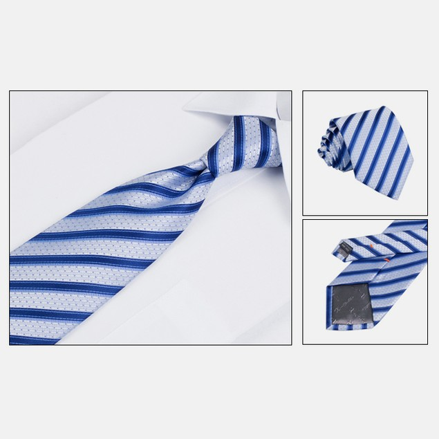 Mens Dress Suit Tie Set - Blue Stripe