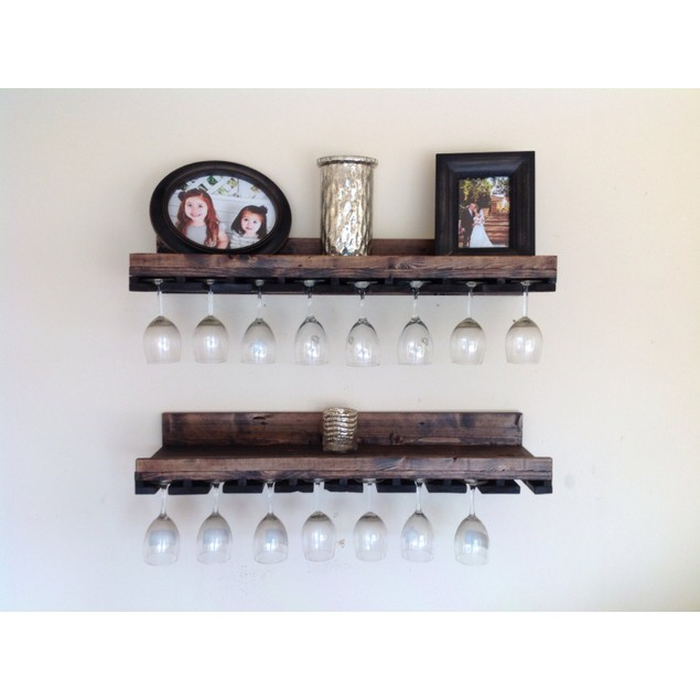 Set of 2 Rustic Luxe Tiered Glass Rack