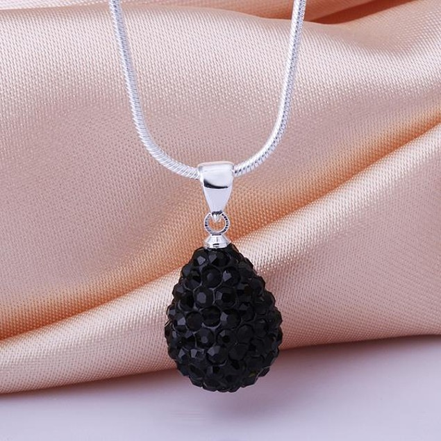 Solid Austrian Stone Pear Necklace - Onyx