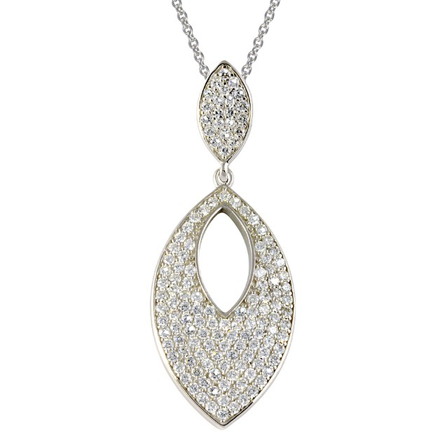 Sterling Silver Simulated Diamond Eye Shaped Necklace
