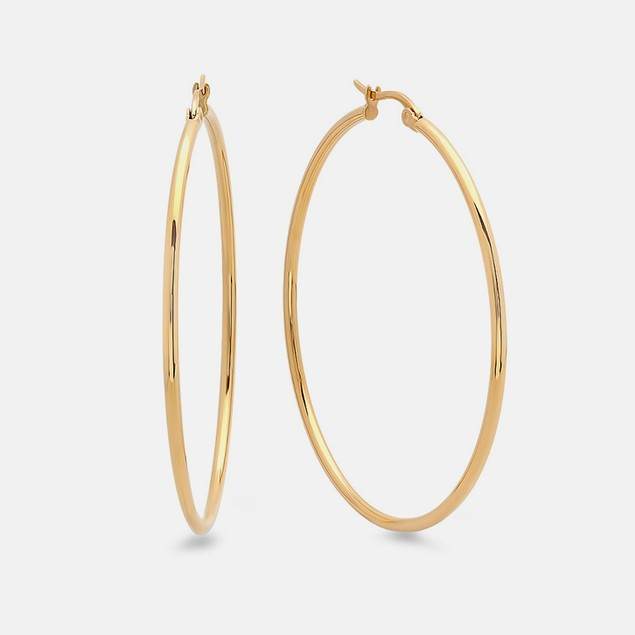 18k Gold Plated 40mm Classic Hoop Earrings