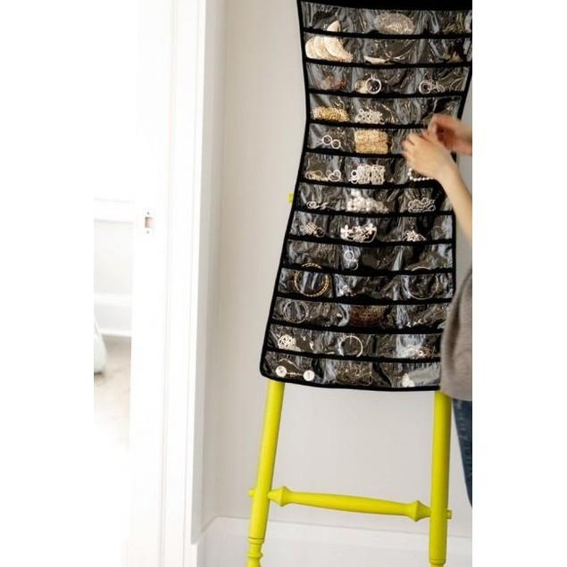 Double-Sided Black Dress Hanging Jewelry Organizer