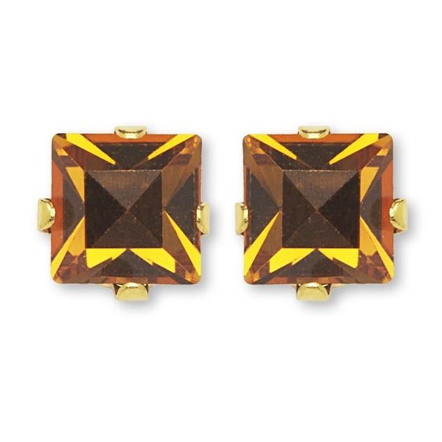 Birthstone Square-Cut Crystal Stud Earrings