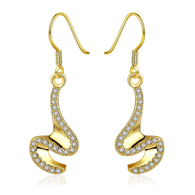Gold Plated Abstract Intertwined Curved Earrings