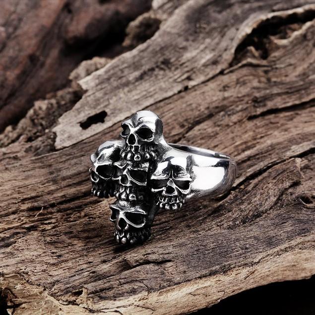 Abstract Angular Stainless Steel Skull Ring