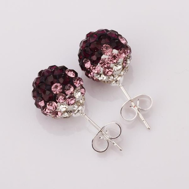 Two Toned Austrian Stone Stud Earrings - Dark Lavender