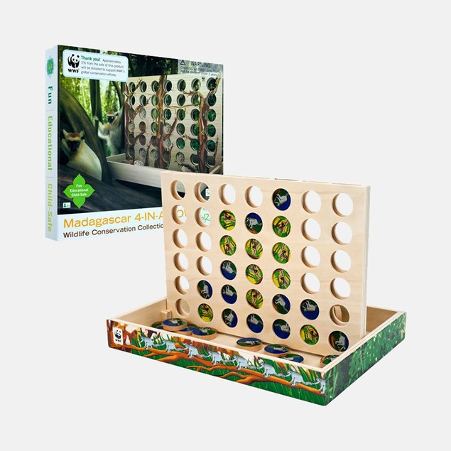 Zoo Animals Madagascar 4-In-A-Row Wood Game
