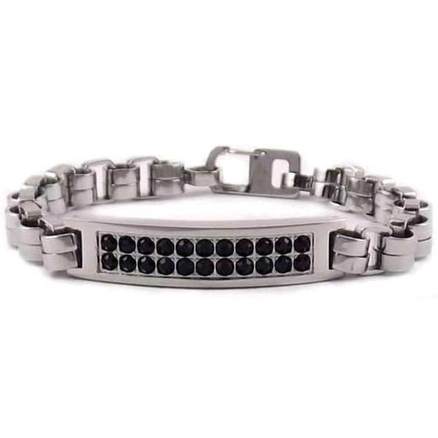 Men's Black Diamond Accent Stainless Steel Bracelet