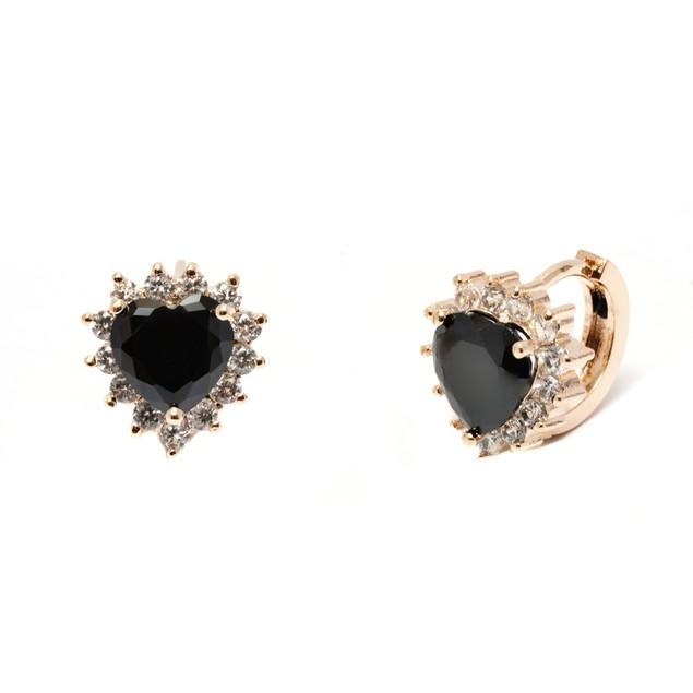 Black Crystal Heart Huggie Earrings