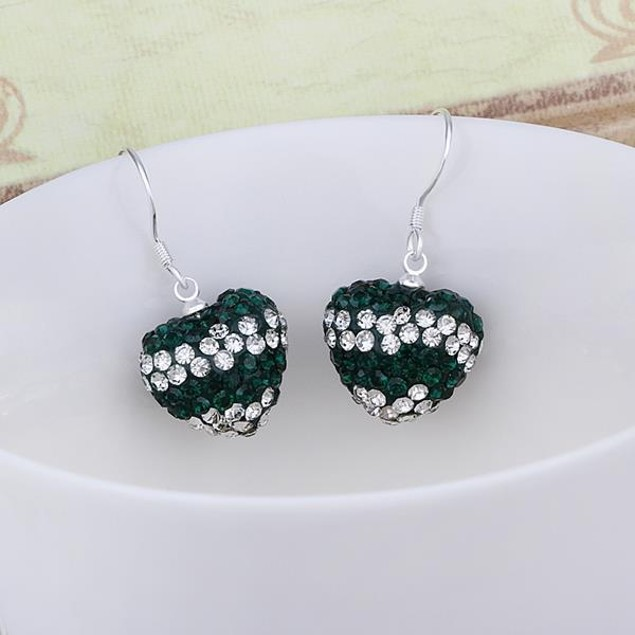 Austrian Stone Pave Heart Drop Earrings - Dark Green