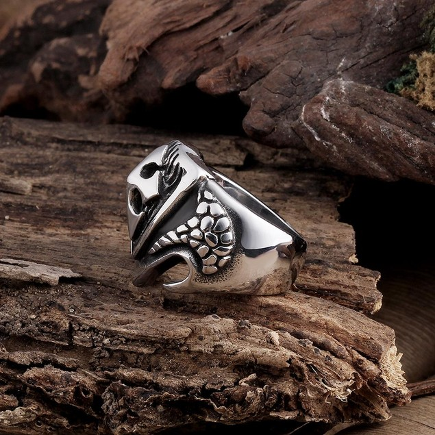 Large Cross Stainless Steel Ring